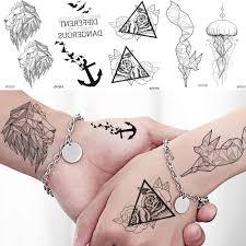 Baofuli Tempopary Tattoo Sticker Geometry Lion Fox Rose Waterproof