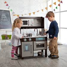 kidkraft espresso toddler play kitchen with metal accessory set