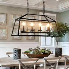 black rectangle chandelier stunning 8 light rectangular retro rustic wrought iron loft pendant lamp