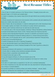 6 Resume Title Examples Prefix Chart