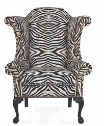 this han moore george iii wing chair is upholstered in zebra stripes and includes
