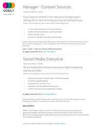 Social Media Marketing Job Description Manager Content Services Social Media Executive ODDLYco 10