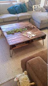 pallet coffee table w built in