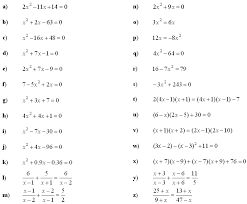 math exercises problems quadratic equations and inequalities