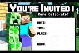Minecraft Birthday Invite Foton