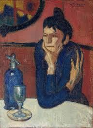 pablo picasso 1901 02 femme au café absinthe drinker oil on canvas 73 x 54 cm hermitage museum saint petersburg russia