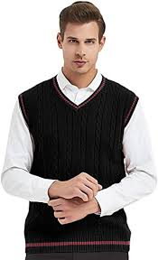 TOPTIE <b>Men's 100</b>% <b>Cotton Knit</b> Sweater Vest at Amazon <b>Men's</b> ...