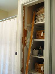 take the door off your bathroom linen closet for a chic and open feeling pertaining to