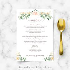 dinner template wedding dinner menu