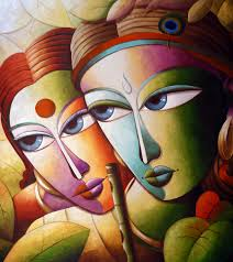 krishna 16 painting is from lord krishna s contemporary painting series by artist which is based on lord krishna s lila when lord krishna was in his