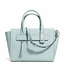Coach 30149 BLEECKER RILEY CARRYALL IN SAFFIANO LEATHER in SV Duck Egg Blue