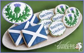 Message Cookie Designs Scotland Cookies Quantity 12 Scottish Flag Thistle