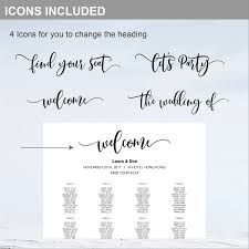 Wedding Seating Chart Wording 8 Sizes Classic Black Editable Wedding Seating Chart