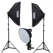 led photography light continuous lighting photo studio kit 2x5500k led lights softbox 2x light stand