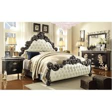 HDS- HD1208 Victorian Grand Design White Leather Bed With Decorative Wood Trims And Casegoods Bedroom Set