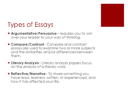 the essay ppt 4 types of essays
