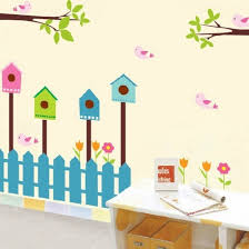 cartoon bird and house fence on house wall art with cartoon bird and house fence cartoon vinyl wall art decals vinyl