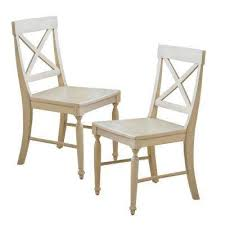 Rovie Antique White Acacia Wood Dining Chairs (Set of 2) 2 - Cross Back Kitchen \u0026 Room
