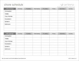 Calendar Chore Chart Template Kids Chore Schedule Template