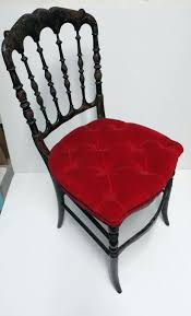 velvet seat cushions painted antique black chair with red velvet tufted seat cushion for