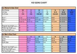 C60 Size Chart Koi Scrub Top Size Chart Www Bedowntowndaytona Com