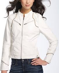 women s scuba white faux leather jacket
