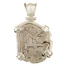 spanish silver cob coin pendant 2 reales