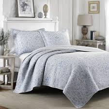 Laura Ashley Mia Pebble Blue/ Grey Reversible Cotton 3-piece Quilt ... & Laura Ashley Mia Pebble Blue/ Grey Reversible Cotton 3-piece Quilt Set Adamdwight.com