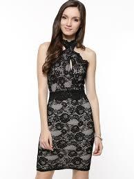 lipsy black lace halter neck pencil dress 1