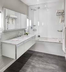 bathroom dark floor contemporary with gray tile glass backsplash wall tiles