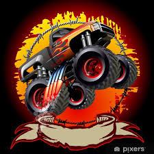cartoon monster truck poster pixers