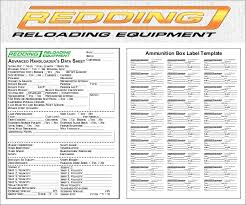 free printable reloading data sheets and box label templates