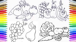 Small Picture Fruits Vegetables Coloring Book Fun Painting Learning Colors How