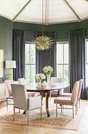 gray dining room with pink velvet dining chairs