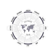 Circle Calendar Template 2018 Calendar Template Circle Calendar Stock Vector