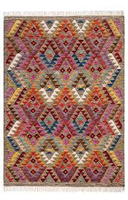 aztec multi coloured diamond handloom kilim rug