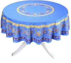 french country kitchen table linens and round blue cotton coated tablecloth of tablecloths