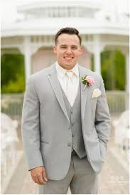 Groom Light Grey Suit Groom In Light Gray Tuxedo With Ivory Shirt And Tie Valerie
