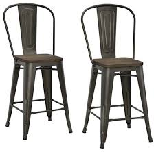 Luxor Metal Stools, Set of 2, Antique Copper, Counter Height industrial-bar