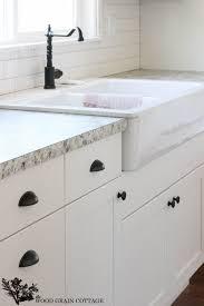 Fixer Upper Update Cabinet Hardware White cabinets Wood grain