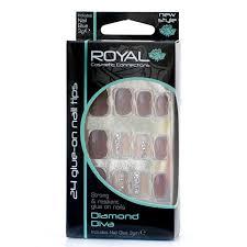 Royal Umělé Nehty Hnědé A Průhledné S Kamínky Nalepovací S Lepidlem Diamond Diva 24 Glue On False Nails Tips 24ks S Lepidlem 3g