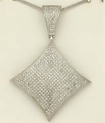 14k white gold 4 00ct round diamond pave square gallery back pendant 2 91
