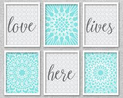 printable art love lives here art printable art set bedroom wall art aqua wall art bedroom wall decor love wall art set of 6 prints on wall art set of 6 with set of 6 prints etsy