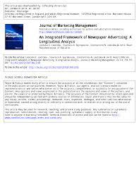 Pdf An Integrated Framework Of Newspaper Advertising A