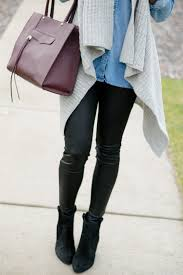express scuba leggings leather leggings outfit chambray outfit winter fashion sweater vest