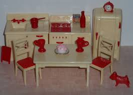 Kitchen Dollhouse Furniture Vintage Renwal 3 4 Plastic Dollhouse Kitchen Furniture Cream Red