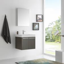 Fresca Alto Grey Oak 23 inch Wall hung Modern Bathroom Vanity with