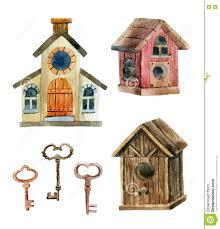 Rustic Birdhouses Retro Birdhouses And Keys Three Cute Rustic Birdhouses Stock