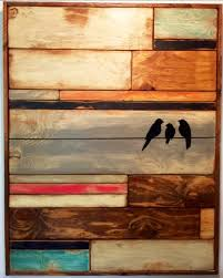 large reclaimed wood wall art home decor birds on wire distressed wood mosaic teal pink orange black white pallet wall art barn wood art