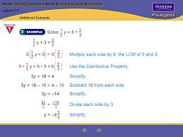 pre algebra multi step equations with fractions and decimals solve